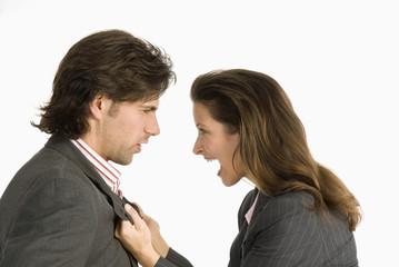 Geschäftsmann und Geschäftsfrau diskutieren,Seitenansicht