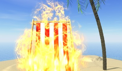chaise longue en feu