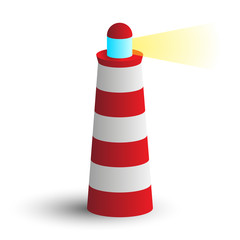 simple modern icon red lighthouse with beam of light