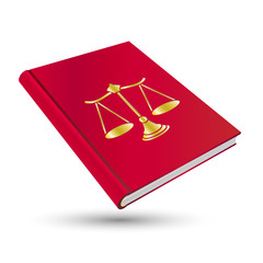 law red book with gold justice icon scale