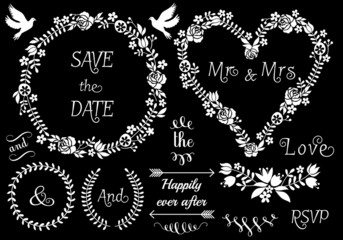 floral wedding frames, vector set