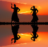 Fototapety Indian dancers at sunset