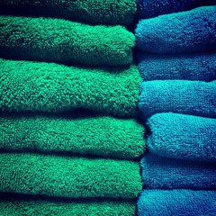 Green and blue towels