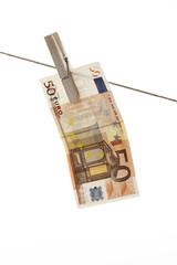50 Banknote hängen Wäscheleine