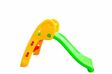 Plastic Children slide on isolated background