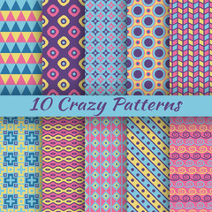 Colorful crazy vector seamless patterns (tiling)
