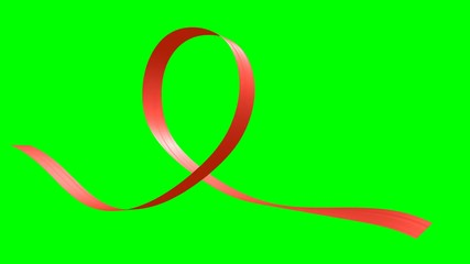 Red ribbon in the shape of loop