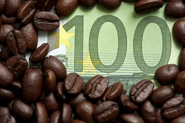 Coffee beans on one hundred euro