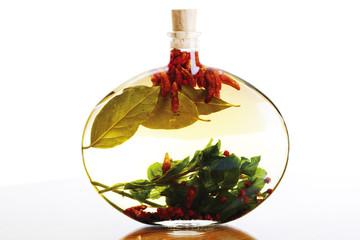 Flasche Olivenöl mit Kräutern und Gewürzen,close-up