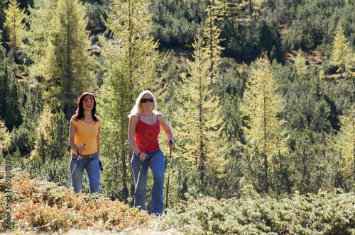 canvas print picture Zwei Frauen im Berg, Nordic Walking