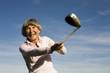 canvas print picture - Ältere erwachsenen Frau mit Golfschläger