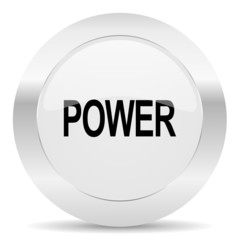 power silver glossy web icon
