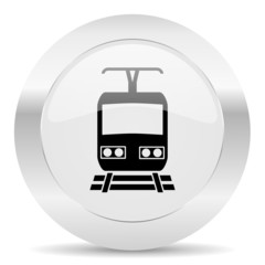 train silver glossy web icon