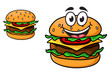 Cartoon cheeseburger with a laughing face