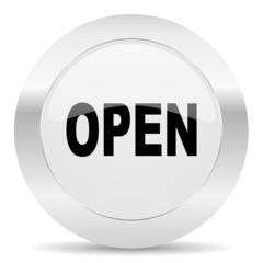 open silver glossy web icon