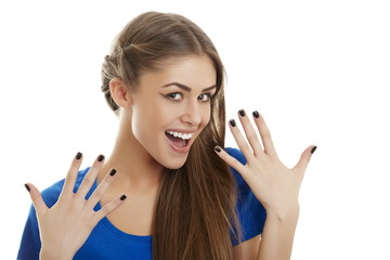 Cheerful surprised woman against white background