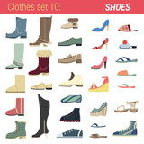 Footwear vector icon set. Boots, shoes, sandals, slippers.