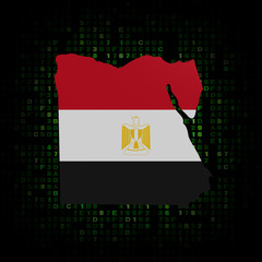 Egypt map flag on hex code illustration