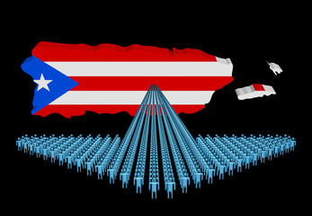 Arrow of people with Puerto Rico map flag illustration