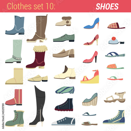 Footwear vector icon set. Boots, shoes, sandals, slippers. - 65211780