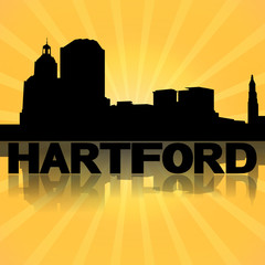 Hartford skyline reflected with sunburst illustration