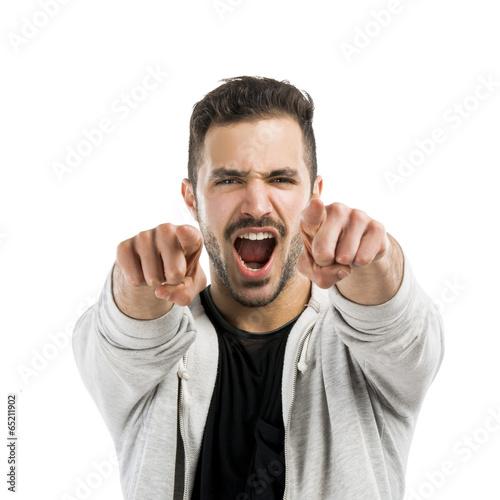 Successful latin man pointing