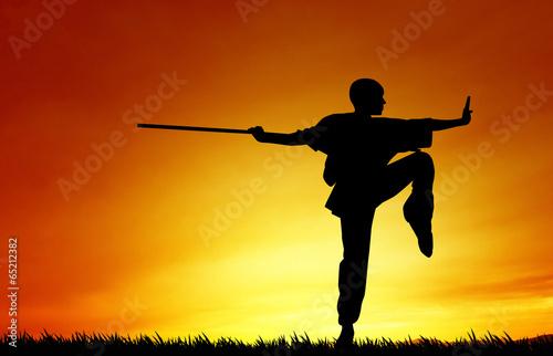 Aluminium Vechtsporten Shaolin pose at sunset