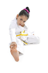sweet latin little girl in kimono training like karate kid