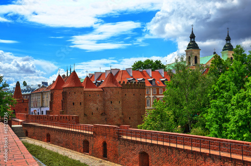 Old Town in Warsaw, the view of the Barbican - 65212736