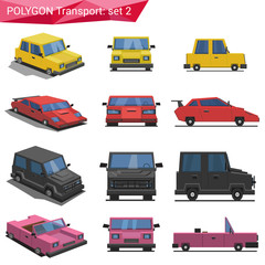 Polygon style transport vector icon set. Car, van, cabrio.