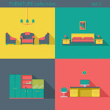 Fototapety Creative design furniture icons set. Interior Long shadow style.