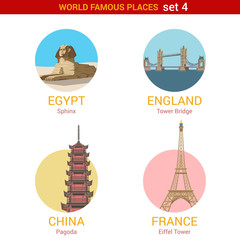 Travel adventure vacation vector set: Sphinx, Tower, Pagoda.