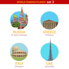 Travel adventure vacation vector set: Moscow, Rome, Dubai.