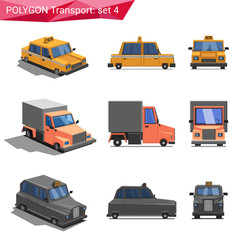 Polygonal style vehicles vector icon set. Taxi, truck, cab.