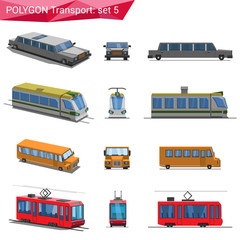 Polygonal style vehicles vector icon set. Limousine, train, bus.