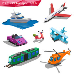 Polygonal style vehicles vector icon set. Yacht, plane, cabrio.