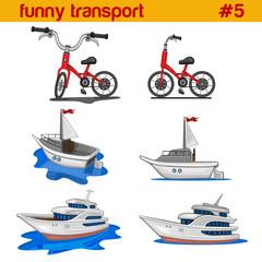 Fun cute cartoon vehicles vector icon set. Bicycle, yacht, boat.