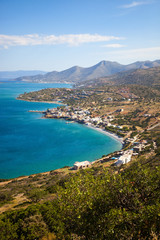 View of coastline near Aghios Nikolaos at Crete island in Greece