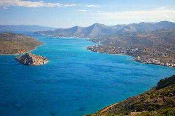 The island of Spinalonga, near the town of Elounda, Crete