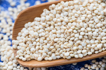 Raw white quinoa in spoon