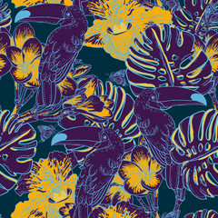 Tropical floral seamless background with Toucan