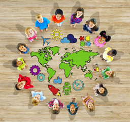 Group of Children and World Map