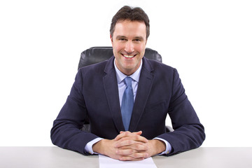 male news anchor or reporter on a white background