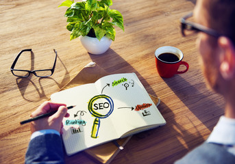 Office Table with SEO Concept