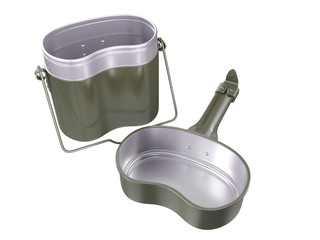 Military mess kit. 3D isolated