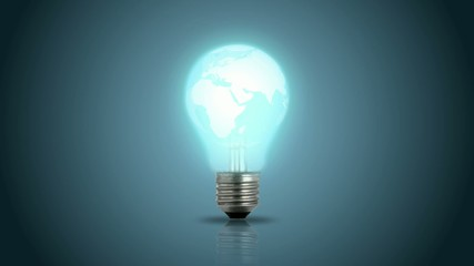 light bulb with a world map
