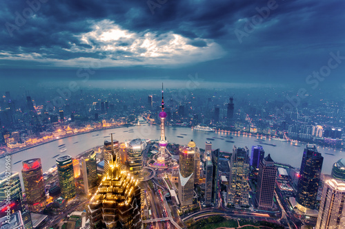 Plakát, Obraz Shanghai skyline