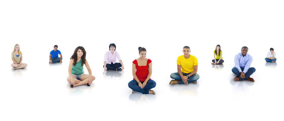 Youth sitting in Isolated