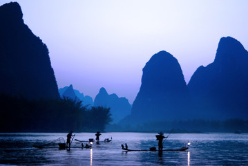 Silhouette of Fishermen in China