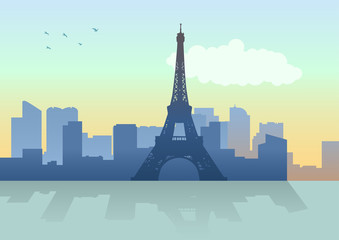 Silhouette illustration of Paris skyline